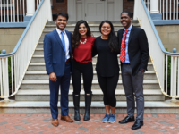 COURTESY MARGAUX FONTAINE Sahil Nair (SFS'19) and Naba Rahman (SFS'19) were officially sworn in as president and vice president, respectively, of the Georgetown University Student Association on the front steps of Georgetown's McCourt School of Public Policy Saturday.