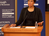 SPENCER COOK/THE HOYA D.C. Mayor Muriel Bowser (D) announced her initiative for PaveDC last Friday.