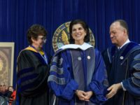 GEORGETOWN UNIVERSITY Luci Baines Johnson, daughter of President Lyndon Johnson, delivered Saturday's commencement address for the School of Nursing and Health Sciences.