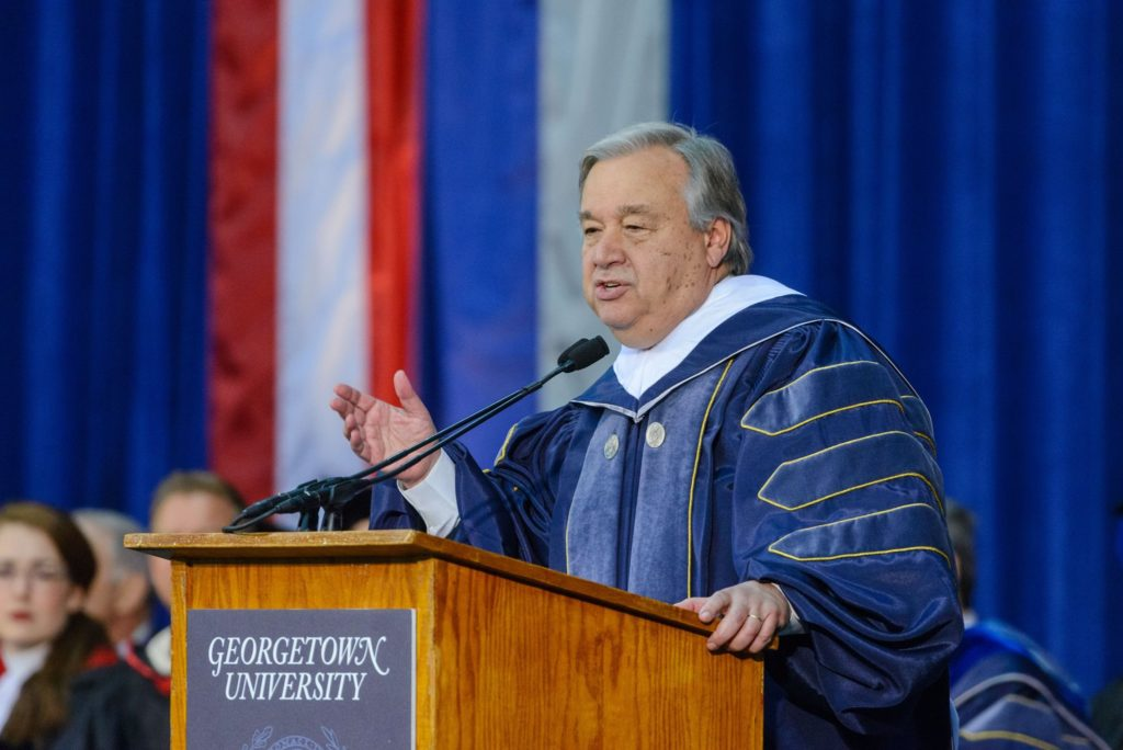 Guterres to SFS Graduates: Climate Change, Middle East Conflicts Threaten Global Security