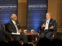 """KEENAN SAMWAY/FOR THE HOYA Sean Spicer discussed his book, """"The Briefing: Politics, the Press, and the President,"""" at a Monday event hosted by the Institute of Politics and Public Service and Georgetown University College Republicans."""