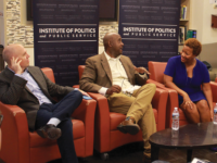 HANNAH LEVINE/THE HOYA David Catania (SFS '90, LAW '94), left, Christian Dorsey (SFS '93) and Tanya Cook (MSB '86) discuss the importance of local politics at a panel.
