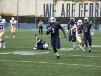 AMANDA VAN ORDEN/THE HOYA | Sophomore linebacker Wes Bowers recorded 11 total tackles in Georgetown's win over Lehigh and has 67 on the season.