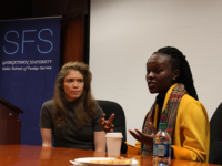 "ASHLEY CHEN FOR THE HOYA Reilly Dowd (SFS '13) (left) and Wanjiku Ngare (SFS '13) (right) spoke about their documentary ""Dreams of Daraa,"" which highlights a woman's experience during the Syrian civil war, at an event Monday."