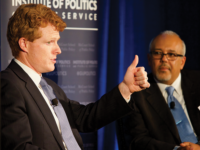 KIRK ZIESER/THE HOYA Rep. Joe Kennedy III (D-Mass.) spoke in Copley Formal about the importance of health care and current issues facing American democracy.