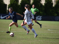Junior defender Meaghan Nally in action versus Butler; Nally has six points this season, seventh on the team. Sophia Nunn/The Hoya