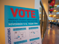 AMBER GILLETTE/THE HOYA  Hundreds of graduate students voted in this week's elections on whether the Georgetown Alliance of Graduate Employees should unionize. Polls were open from Nov. 5 to Nov. 8.