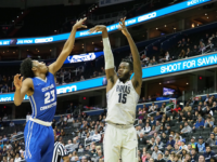 Senior center Jessie Govan scored 26 points against Central Connecticut State University. Govan is averaging 19.9 points per game along with 7.3 rebounds, which both lead the Hoyas. Kirk Zieser/The Hoya