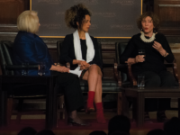 AMBER GILLETTE/THE HOYA From left to right: Ambassador Melanne Verveer, who co-moderated the event, women's rights activist Masih Alinejad and author Azar Nafisi criticized the mandatory hijab policy in Iran at a Dec. 5 panel.