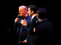 GSP/GEORGETOWN UNIVERSITY Jim Gaffigan (MSB '88), John Mulaney (COL '04) and Mike Birbiglia (COL '04) perform at a New York City comedy fundraiser to benefit the Georgetown Scholarship Program on Jan. 14.