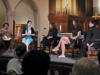 AMY LI FOR THE HOYA | From left to right: Gloria Purvis, Aimee Murphy, Kim Daniels, Julia Greenwood (COL '19) and Serrin Foster advocated against abortion   at a panel in Dahlgren Chapel.