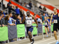 GUHOYAS| Sophomore  Nate Alleyne sprints to the finish line. Alleyne won third place in the 200-meter dash.