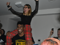 AMBER GILLETTE/THE HOYA | Norman Francis Jr. (COL '20) and Aleida Olvera (COL '20) celebrated their victory in the 2019 GUSA executive election Saturday morning.