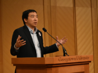 MARGARET FOUBERG FOR THE HOYA | 2020 Democratic presidential candidate Andrew Yang advocated for a basic income in the United States in an event in Lohrfink Auditorium on Tuesday.