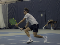 ELLIE STAAB FOR THE HOYA | Georgetown freshman Andrew Rozanow won his singles match against Longwood on Feb. 14, making his winning record 4-1 during his first season.