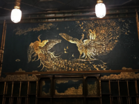 ANNAH OTIS FOR THE HOYA | Two peacocks painted in gold