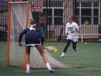 KIRK ZIESER/THE HOYA | Senior attack Taylor Gebhardt comes from behind the goal to try to find an open teammate.