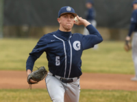 GUHOYAS  Junior pitcher Brent Killam winds up to pitch. Georgetown pitchers only gave up five hits against Campbell.
