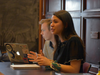 MARGARET FOUBERG/THE HOYA | The Georgetown University Student Association senate, headed by GUSA senate speaker Eliza Lafferty (COL '21), right, and vice speaker Patrick Walsh (SFS '21), left, reallocated an additional $1,222.39 to GUSA before approving the 2019-2020 fiscal year student activities budget March 24.