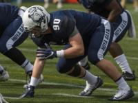 GUHOYAS | Junior linebacker Owen Kessler prepares to hunt down the Davidson quarterback