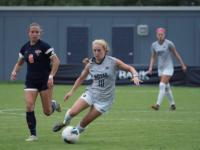 KIRK ZIESER/THE HOYA | Senior Forward Paula Germino-Watnick prepares to pass upfield against Bucknell, a game in which she also scored.